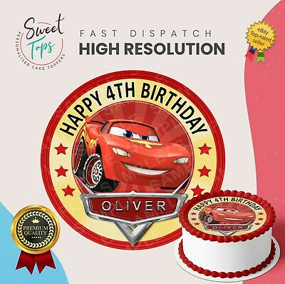Cars Lightning Mcqueen Edible Birthday Cake Topper Decoration Personalised • 6.49£