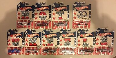 $ CDN54.41 • Buy HOT WHEELS 2018 STARS AND STRIPES COMPLETE SET 50TH ANNIVERSARY-Lot Of 10
