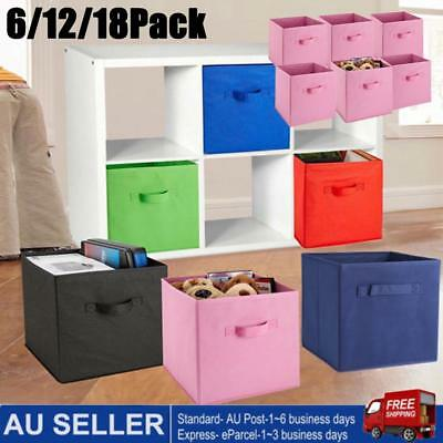 AU26.26 • Buy 6-18X Foldable  Fabric Storage Bin Collapsible Box Clothes Organizer Cube