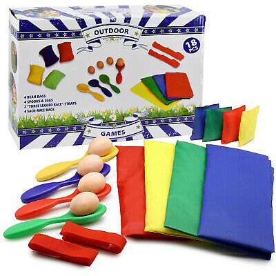 4 In 1 Sports Day Set - Sack Race, 3 Legged Race, Egg And Spoon Race, Bean Bags • 10.99£