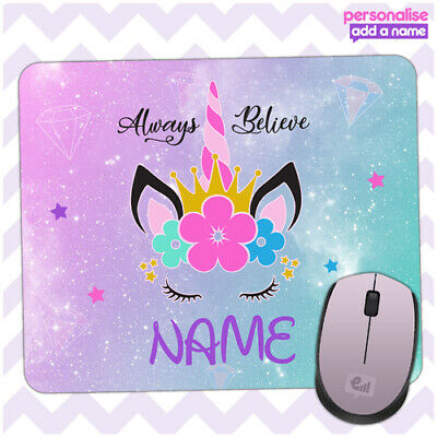Personalised UNICORN Mouse Mat Pad Kids PC Laptop Computer Room Girls Fantasy • 4.95£