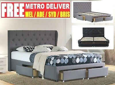 AU449 • Buy Double Queen King Size Grey Charcoal Pu Black White Storage Drawer Bed Frame