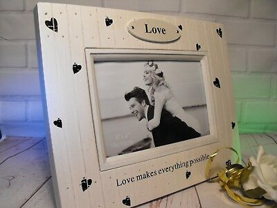 GIRLFRIEND  BOYFRIEND Lovers COUPLE PHOTO FRAME White Shabby Chic PHOTO FRAME • 9.95£
