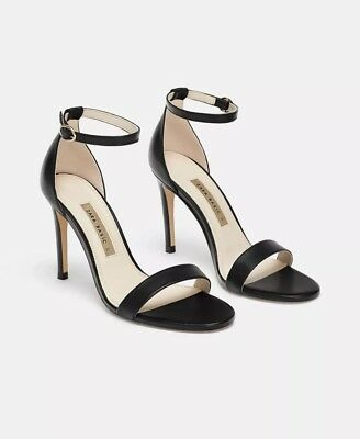 130b82b4093 New Zara Black Leather Ankle Strap High Heel Sandals Strappy Shoes Sz 10 39  99. Zara Ankle Strap Compare S On Dealsan Com