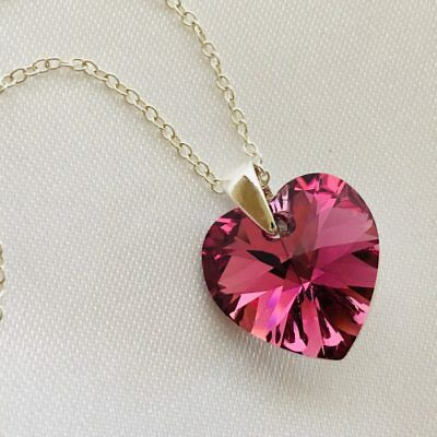 £11.99 • Buy 925 Silver Heart Necklace Pendant Jewellery Rose Made With Swarovski® Crystals