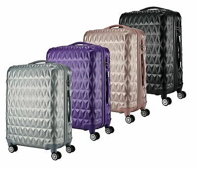 ABS Hard Shell Cabin Suitcase Case 4 Wheels Luggage Lightweight 20  24  28  NEW • 79.99£