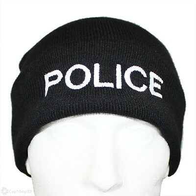 POLICE Beanie / Woolly Hat (BLACK) For PCSO, SECURITY, PRISON OFFICER • 8.99£
