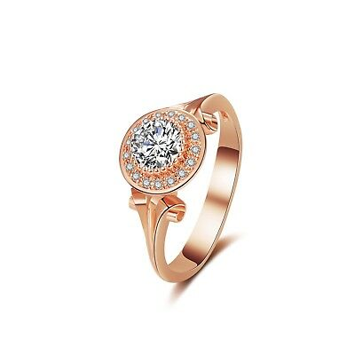 $15.89 • Buy Solitaire Halo CZ Ring Engagement Wedding Rings 14K Rose Gold Plated Brass