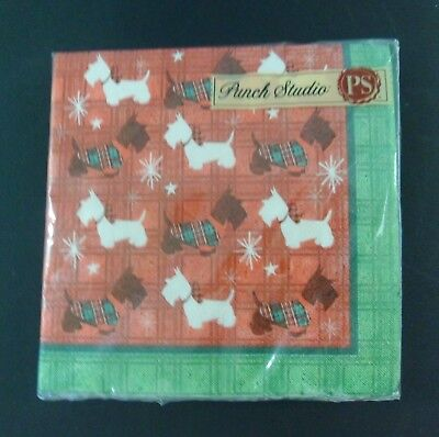 Punch Studio BEVERAGE COCKTAIL NAPKINS Christmas SCOTTISH DOGS 40 Count 3-Ply  • 3.85£