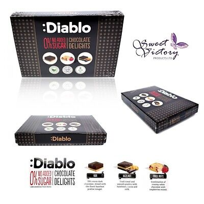 Diablo 0% No Added Sugar 12x Chocolate Delights Box With Stevia GIFT Gluten Free • 9.99£