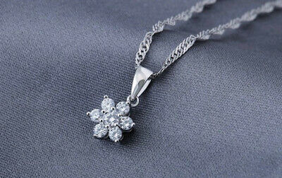 £3.89 • Buy Rose Gold Flower Pendant 925 Sterling Silver Chain Necklace Women Jewellery Gift
