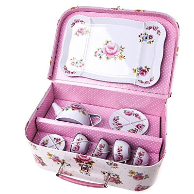 £23.23 • Buy RJB Stone Childrens Rose Covered Tin Tea / Picnic Set And Case