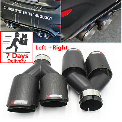 $ CDN149.88 • Buy Pair Akrapovic Real Carbon Fiber ID:2.5  OD:3.5  Car Exhaust Tip Dual Pipes End