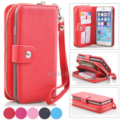 $ CDN16.38 • Buy Premium Leather Wristlet Cash Clutch Wallet Card Slot Case For IPhone & Samsung