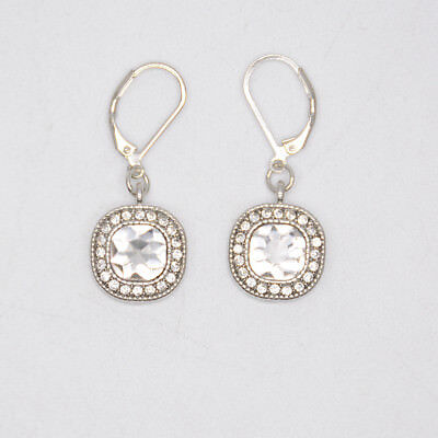 $ CDN10.88 • Buy Lia Sophia Jewelry Bella Donna Faceted Cut Crystals Hoop Drop Silver Earrings