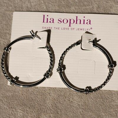 $ CDN10.09 • Buy Lia Sophia Jewelry Balance Silver Tone Hoop Earrings Cute  Rv$28 Free Shipping