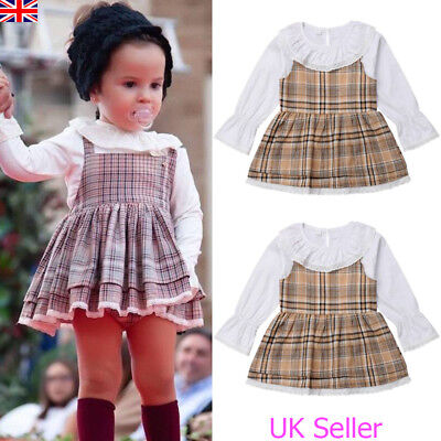 Kids Baby Girls Long Sleeve Plaid Checked Dress Casual Party Wedding Dresses Top • 6.39£