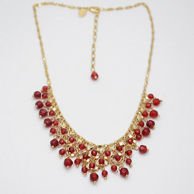 $ CDN10.44 • Buy Lia Sophia Jewelry Gold Filled Red Beads Cluster Bib Statement Necklace Chain