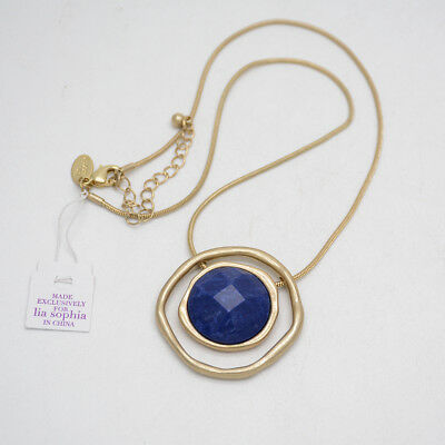 $ CDN13.05 • Buy Lia Sophia Jewelry Matte Gold Plated Genuine Stone Slide Pendant Necklace Chain