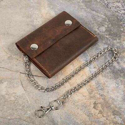 Mens Leather Biker Wallet Trifold Motorcycle Safetychain Genuine Brown Chain New • 19.99£