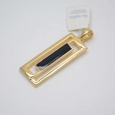 $ CDN7.52 • Buy Lia Sophia Signed Jewelry Gold Plated Black Enamel Rectangle Pendant Slide
