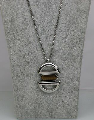 $ CDN11.85 • Buy Lia Sophia Signed Jewelry Tiger Eye Huge Pendant Silver Tone Long Necklace Chain