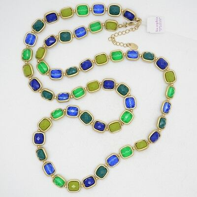 $ CDN17.64 • Buy Lia Sophia Jewelry Long Colorful Necklace Beaded Link Chain Green Blue Yellow