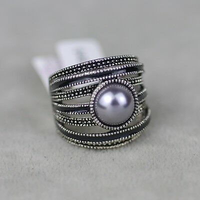 $ CDN13.05 • Buy Size 5 6 8 9 10 11 Lia Sophia Jewelry Vintage Silver Tone Enamel Ring For Woman