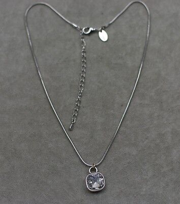 $ CDN10.71 • Buy Lia Sophia Signed Jewelry Silver Tone Cute Square Cut Crystal Pendant Necklace