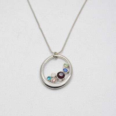 $ CDN13.39 • Buy Lia Sophia Signed Jewelry Silver Tone Colorful Cut Crystals Pendant Necklace