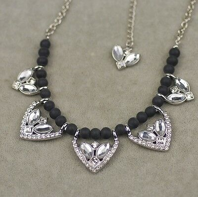 $ CDN10.91 • Buy Lia Sophia Signed Jewelry Black Wood Beads Polish Pendant Necklace Cut Crystal