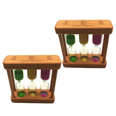 AU16.37 • Buy 2 Wooden Sandglass Hourglass 1/3/5 Minute Sand Timer, Kitchen Cooking 3 In 1