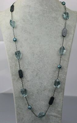 $ CDN13.17 • Buy Lia Sophia Signed Jewelry Black Tone Blue Acrylic Beads Link Long Necklace Chain