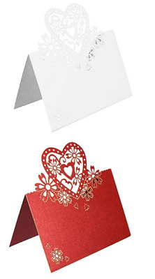 Wedding Party White Pearlescent Lace Effect Love Hearts Place Cards Table Name  • 1.95£