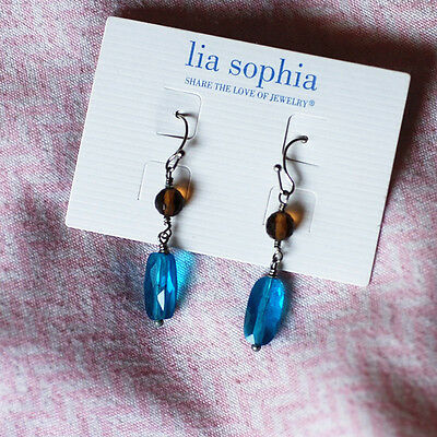 $ CDN10.09 • Buy NWT Fashion Lia Sophia Jewelry Drop Dangle Earrings Blue Beads Free Shipping