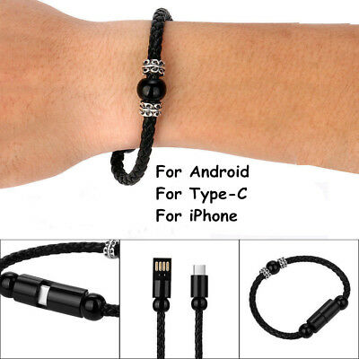 $1.10 • Buy USB Charging Data Sync Cable Bracelet Wrist Band For IPhone/Android/Type-C New