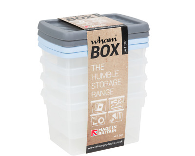 £8.99 • Buy 1.5l Wham Storage Boxes Plastic Container Storage Basket Clear With Colour Lids