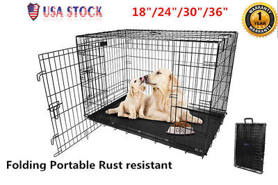 $51.49 • Buy Extra Large Dog Crate Kennel 36 /30 /24 /18  Folding Pet Cage Metal USA Seller!