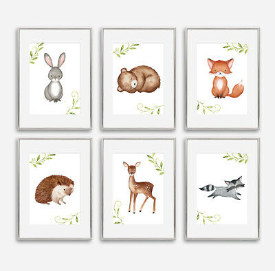 Woodland Animal Baby Nursery Prints Childrens Bedroom Wall Pictures Decoration • 3.99£