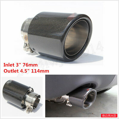 $ CDN45.42 • Buy 1Pcs 76mm-114mm Real Carbon Fiber Stainless Steel Car Exhaust Muffler Pipe Tip