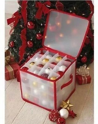 Christmas Storage Box Decoration Organiser Tree Ornaments Ball 64 Baubles Bauble • 11.95£