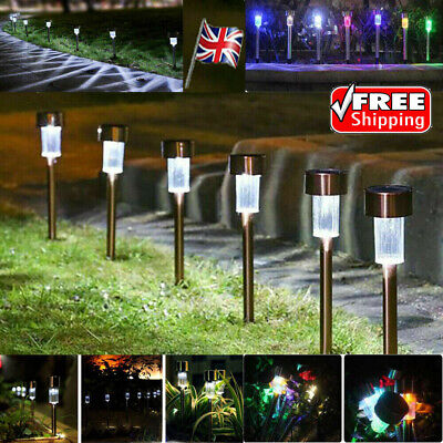 10 X Solar Powered Stainless Steel Led Post Stake Lights Garden Patio Outdoor UK • 10.99£