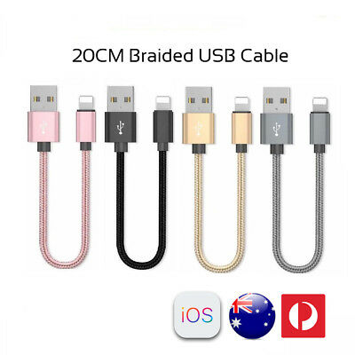AU3.99 • Buy 20CM Short Braided Lightning USB Cable Fast Charging Cord IPhone XS 8 7 6 Plus 5