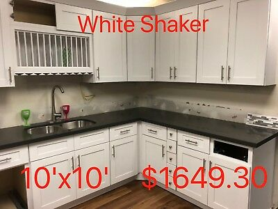 $1649.30 • Buy All Wood RTA 10X10 Kitchen Cabinets In  White Shaker