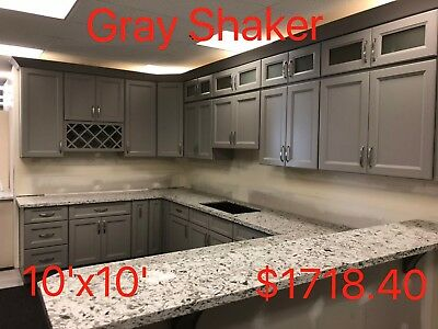 $1718.40 • Buy All Wood RTA 10X10 Kitchen Cabinets In Gray Shaker
