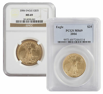 View Details Lot Of 2 - 1/2oz American Gold Eagle MS69 NGC Or PCGS (Random Date) • 1347.70$