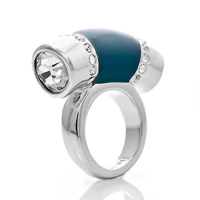 $ CDN12.21 • Buy Size 7 8 10 Lia Sophia Silver Tone Jewelry Cut CZ Crystal Ocean Blue Ring RV$78