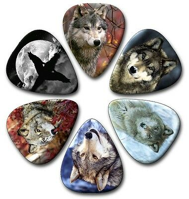 $ CDN4.90 • Buy 6 WOLVES ~ Guitar Picks ~ Plectrums ~ Plectra ~ Printed Both Sides