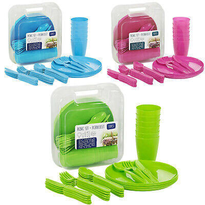£7.99 • Buy 31 Piece Plastic Picnic Camping Party Dinner Plate Mug Cutlery Set Storage Box