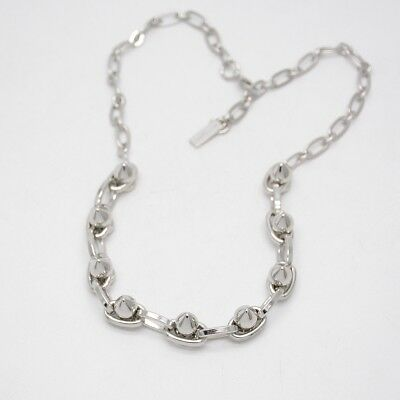 $ CDN11.35 • Buy Lia Sophia Signed Jewelry Silver Tone Punk Rivet Simple Textured Necklace